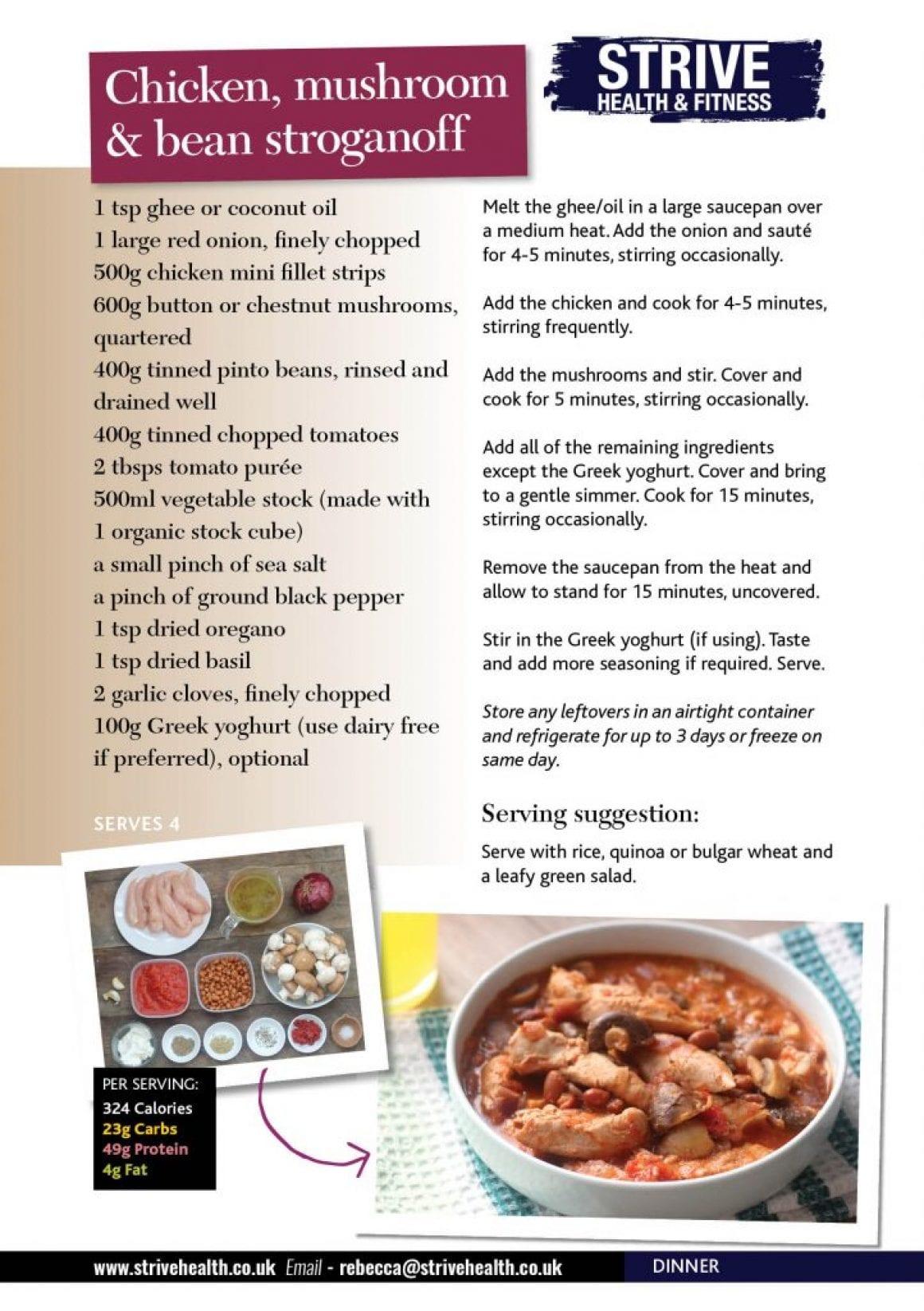 Chicken Mushroom & Bean Stroganoff